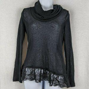 Ransom Black Long Sleeve Open Knit Top Lace